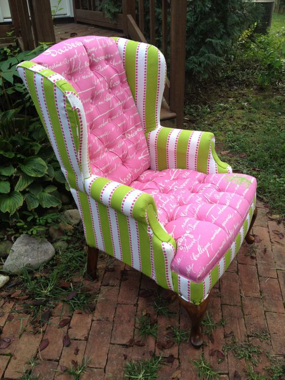Pink Amp Green Wingback Chair Decor Pinterest Colors