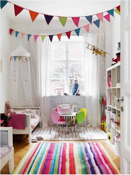 Imagine your white room with bits of bright colours (or whatever ...