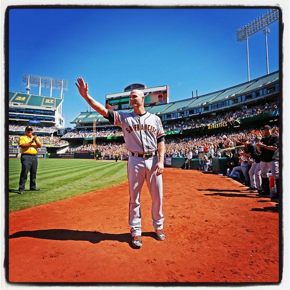 """#sfgiants Tim Hudson waves to fans during his curtain call at the Oakland Coliseum. Photo by @punkpoint"""