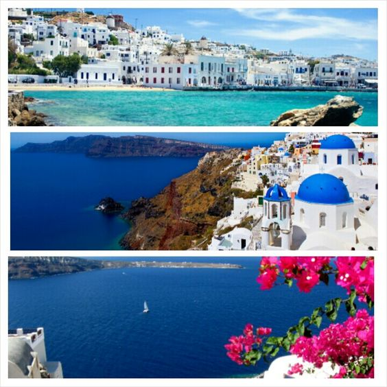Clear blue water,beautiful flowers and houses. Greece is perfect. This will be a great and perfect get away. ♡♡♡