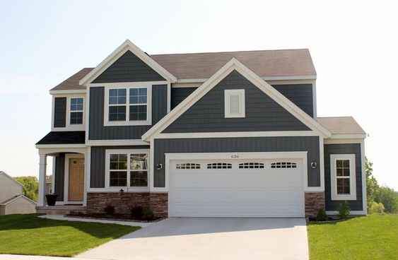 Flint Gray Vinyl Siding With Slate Metal Roof House Color