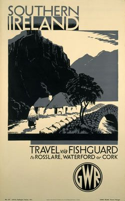 """""""Southern Ireland via Fishguard to Rosslare, Waterford or Cork"""" 11x14"""" print…"""