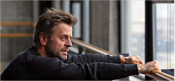 Mikhail Baryshnikov @ the barre with an amazing view...that would inspire me to dance on it's own.. - Samuel Beckett - Theater - New York Times