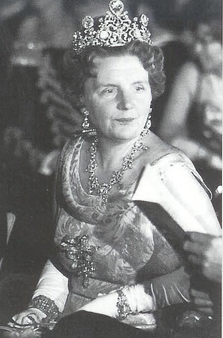 Queen Juliana wearing the stunning Stuart Diamond tiara. Queen Emma's Van Kempen necklace was dismantled to create this beautiful tiara.
