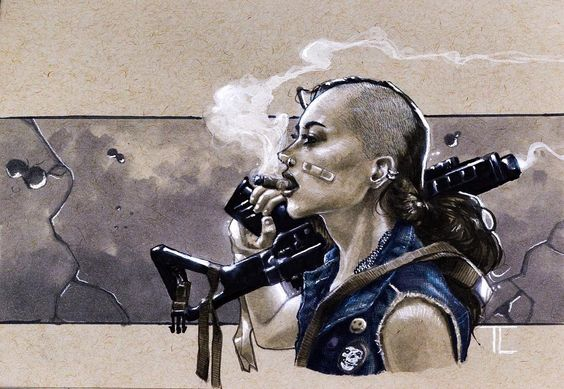 "1,803 Gostos, 16 Comentários - Taurin Clarke (@muaadib) no Instagram: ""Never got a sketchbook, so here's an old sketch. #tankgirl #themisfits * * * * * * * * * #tankgirl…"""