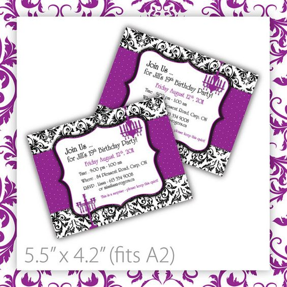 Printable Birthday Party Invitation . Damask . Purple ~ $8.00 ...