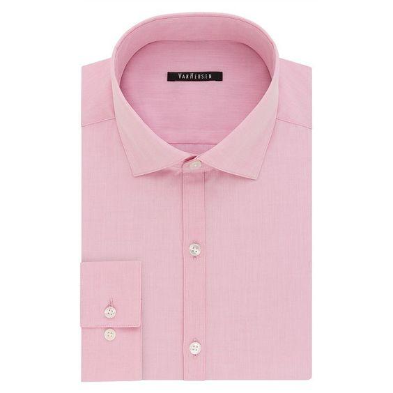 Men's Van Heusen Fresh Defense Extra-Slim Fit Dress Shirt, Size: 16.5-34/35, Pink