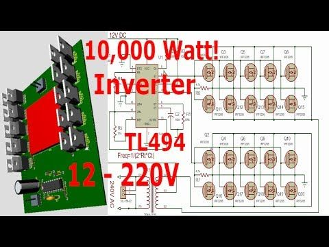 Tl494 10 000watt Inverter 12 220v Youtube Electronic Schematics Electronic Circuit Projects Electronics Mini Projects