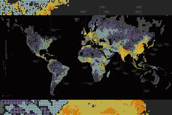 """""""Dencity"""" by Fathom, a look at population density, with larger dots representing sparser populations. $30"""