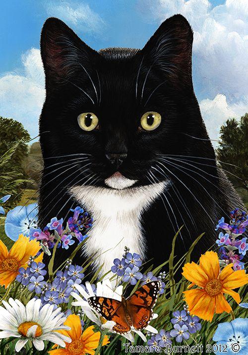 Tuxedo Cat Cats Black And White, Tuxedo Cat Garden Flags