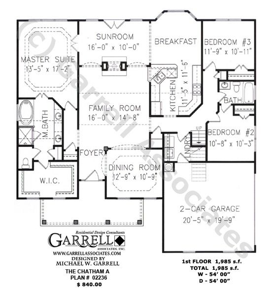 Chatham A Plan 02236 1st Floor Plan Ranch Style House