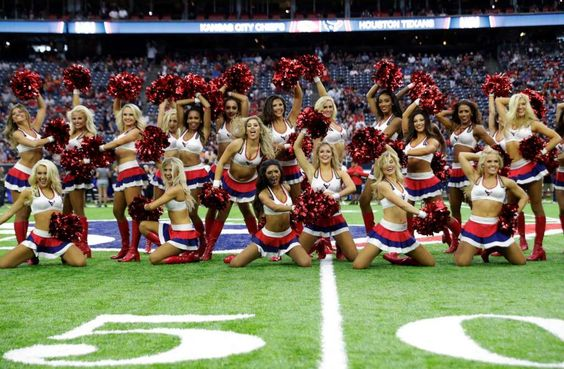 The Houston Texans cheerleaders perform before an NFL football game Sunday…