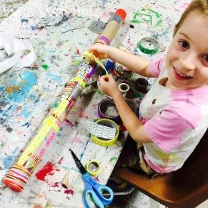 Wee Warhols, learn how to make rain sticks with kids, handmade instruments, handmade percussion instruments, recycling cardboard tubes.