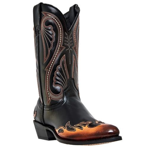 Laredo Western Boots Mens Chicago Flame Wingtip Black Orange 2754 ...