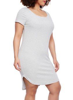 Plus Size Striped Ribbed Dress With Shirttail Hem,HEATHER/WHITE