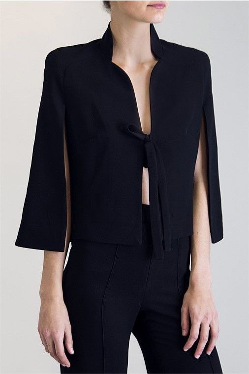 Carla's Favourites - BLACK CREPE CLOAKED DESIRE JACKET