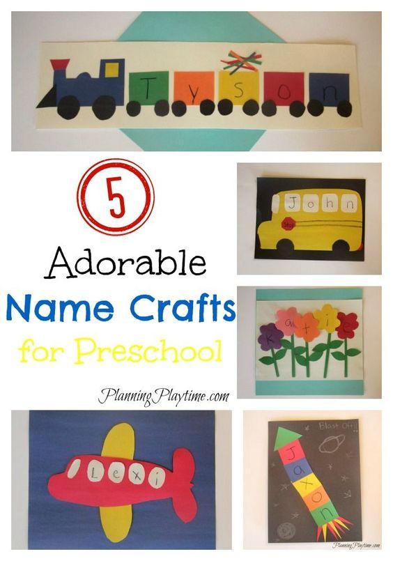 5 Adorable Preschool Name Crafts for kids. They could also work for kindergarten. #preschool #kindergarten #name #crafts