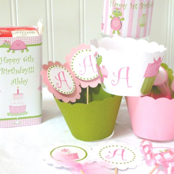 DIY Printable First Birthday Decoration with cute pink & green turtle color scheme. $20.00, via Etsy.