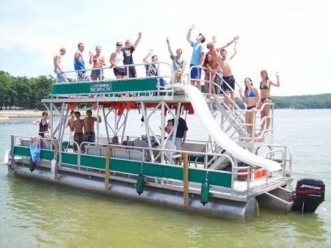On the Pontoon! double decker party boat and trust me, the hubby will be building one of these ...
