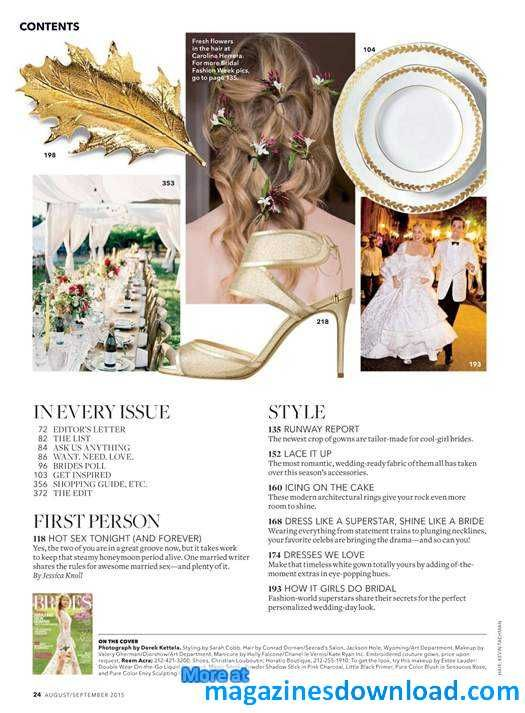 Magazines Download - All in PDF | Brides - August/September 2015 / United States