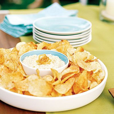 Caramelized maui onion dip...delicious! Recipe calls for 1/2 cup buttermilk, I started with 1/4 and added to reach desired consistency.