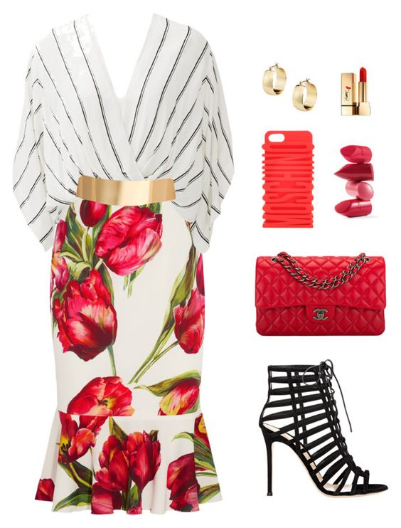 """""""Untitled #23"""" by hautedistrict on Polyvore featuring moda, Dolce&Gabbana, Free People, ASOS, Gianvito Rossi, Rossetto, Moschino, Chanel y Yves Saint Laurent"""