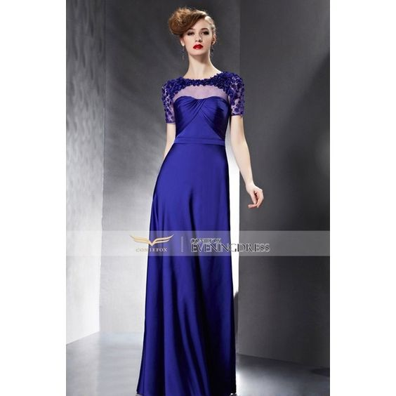 2015 Summer Dark Blue Appliques Ruffles Hollow Short Sleeve Prom Dress... ❤ liked on Polyvore featuring dresses, frill dress, frilly dress, blue dress, dark blue prom dresses and blue summer dress