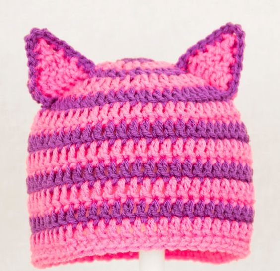 Cheshire Cat Ears Hat from Alice in Wonderland, Hot Pink and Purple Crochet Beanie, send size choice baby - adult