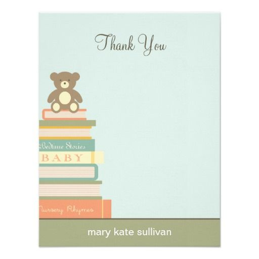 bring a book baby shower thank you cards (blue)   book themed baby, Baby shower invitations