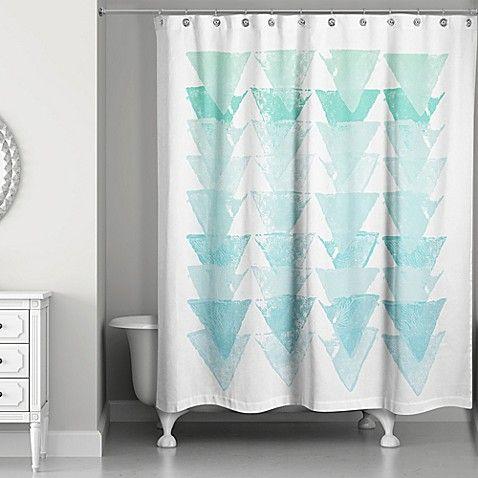 Sea Glass Triangles Shower Curtain In Blue White Blue Bathroom