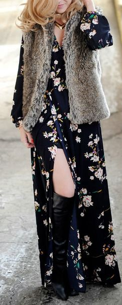 Floral Print Maxi + Fur Vest...thinking about getting this dress