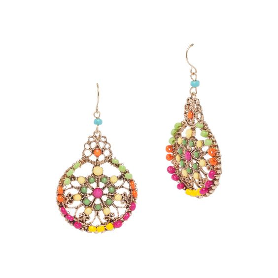 MULTI BEADED FILIGREE EARRINGS
