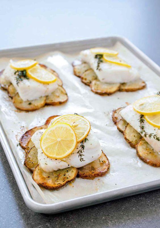 Lemon Roast Cod With Potatoes