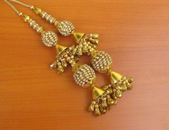 2 pcs. Tassels.bridal tassels,beaded tassels in golden color.Pair of zari tassels. by vibrantscarves on Etsy