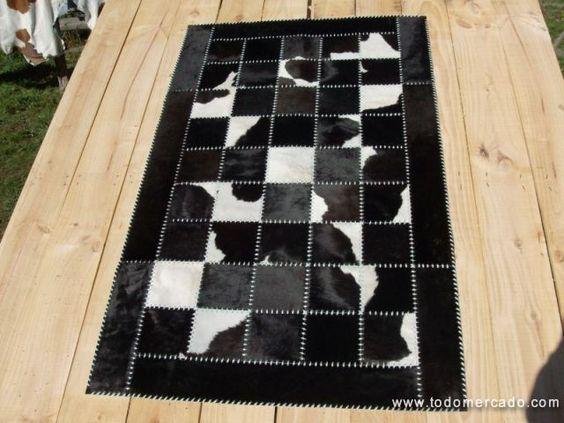 alfombras de cuero con pelo hechas a medida patchwork