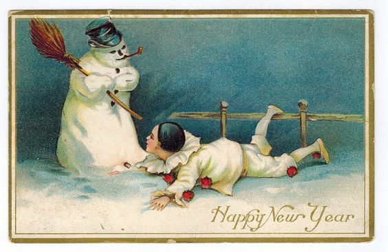 A Happy New Year Snowman [100101] - $5.25 : Old Postcards In Time, Online source for old and antique postcards