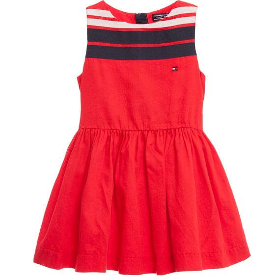 Red Cotton Dress with Navy Blue &amp- White Ribobns - Cotton dresses ...
