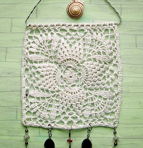 Granny chic wall hanging white doily by PugcentricPursuits on Etsy, $15.00