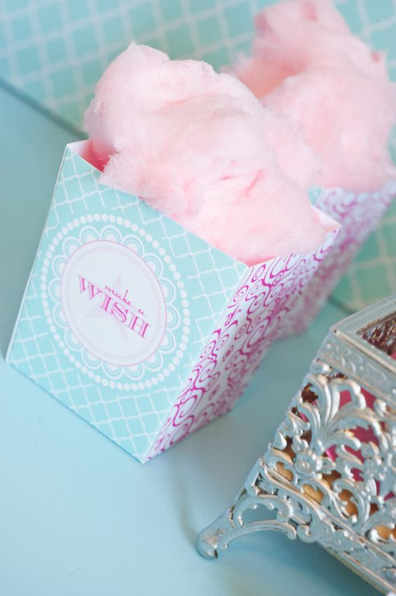 Cotton candy party favors: Romantic Wedding, Wedding Ideas, Candy Party Favors, Pretty Pastel, Candy Boxes, Candy Floss, Party Ideas, Birthday Party, Cotton Candy Party