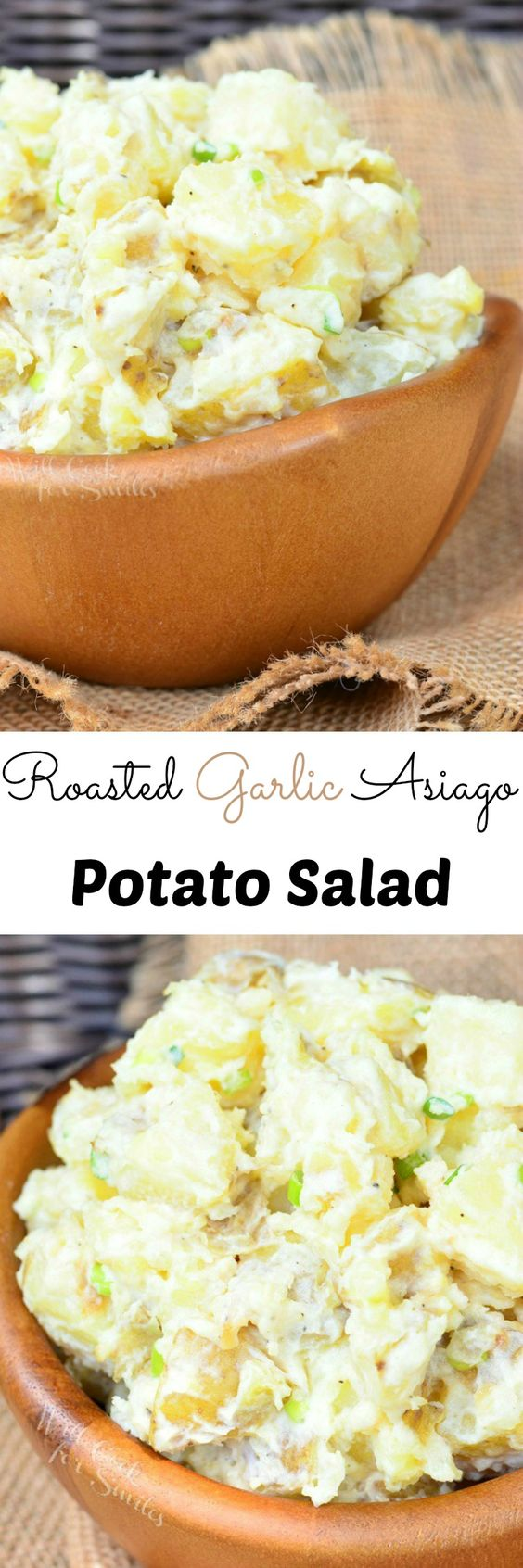 Roasted Garlic Asiago Potato Salad. Classic summer barbecue side dish made with fantastic flavorful additions, making it a MUST TRY dish!