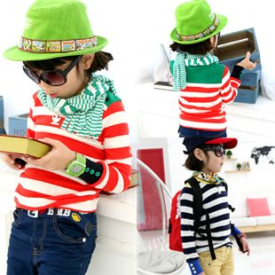 2013 autumn korean version of the new childrens clothing childrens spell color wide stripes baby boys and girls long-sleeved t-shirt 6286 only $7.37USD a Piece