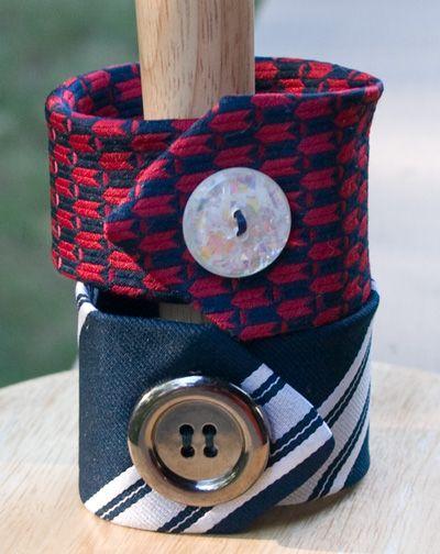 Bracelets from old ties http://lindaevesblog.blogspot.com/2010/07/tutorial-necktie-cuff-bracelet.html?m=1