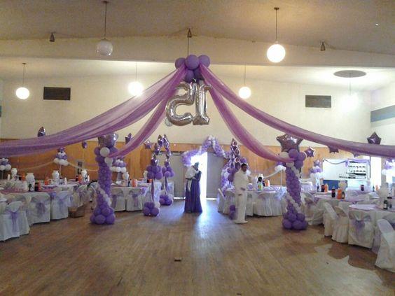Decoracion de fiestas con tul decoraci n con globos y - Telas para decorar salones ...