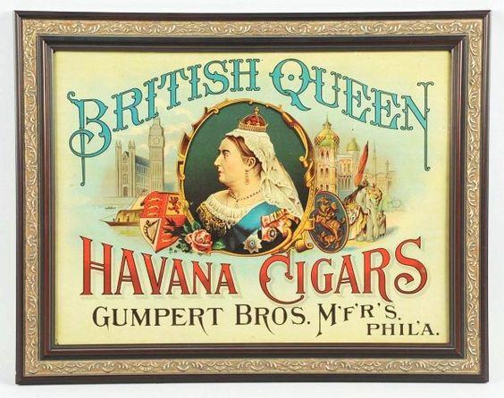 1890s British Queen Havana Cigars Tin Sign.