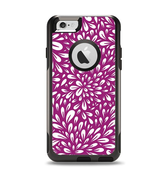 The Purple & White Floral Sprout Apple iPhone 6 Otterbox Commuter Case Skin Set