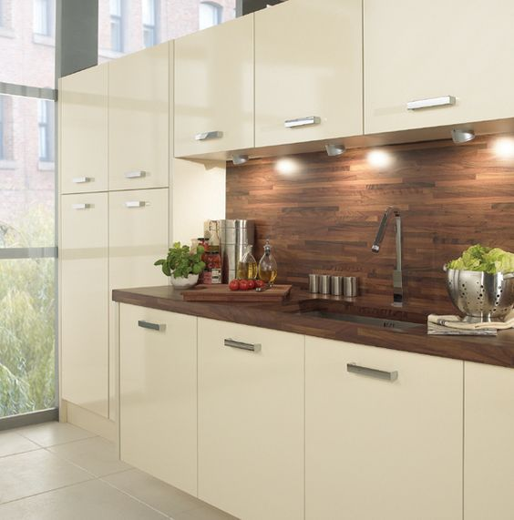 Love The Dark Wood Worktop And Splashback Against The Vanilla Gloss Cupboards