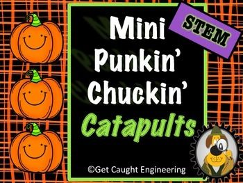 Autumn means Pumpkin Chucking Time - an awesome STEM activity! No pumpkin chucking catapults near your location? No problem...hold your own mini contest with this fun activity that reinforces knowledge of simple machines. Grab a bag of candy mini pumpkins, some spools or small plastic vials, and some paint stirrers and you are good to go!