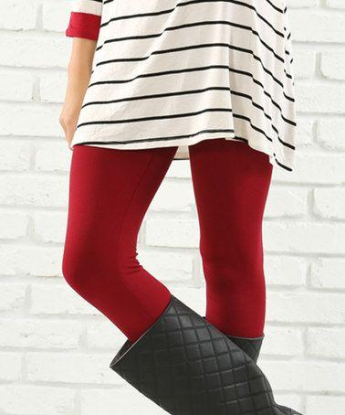 Love this Dark Red Fleece-Lined Leggings - Plus on #zulily! #zulilyfinds