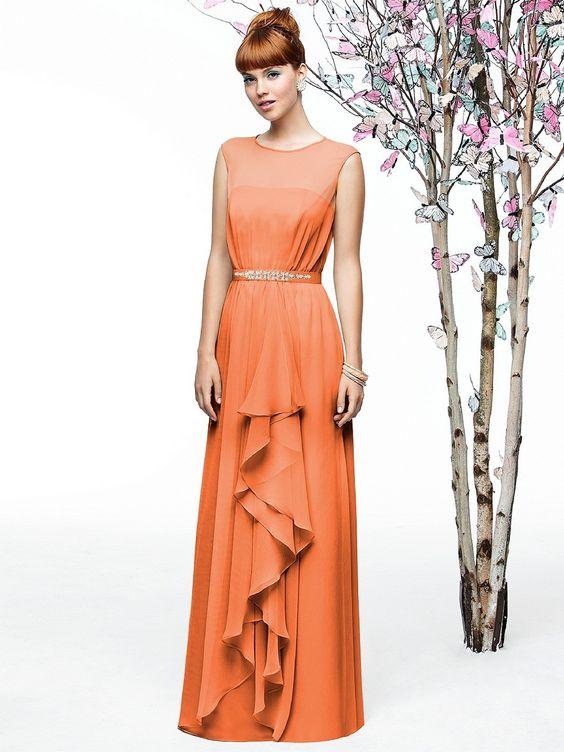 Lela Rose LR202 Dress Crinkle Chiffon Beaded Belt Front Drape