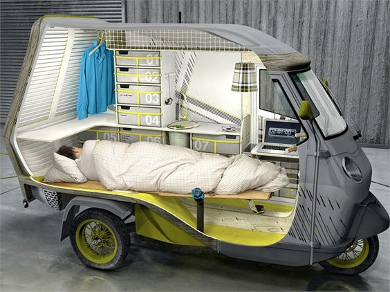 Bufalino: a travelling vehicle like a base camp!   Bufalino is a mini #camper designed by German designer Cornelius Comanns who revolutionized the Italian Piaggio Ape 50 inside and out.
